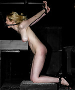 Cute blonde gets strapped, teased and tortured