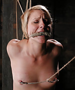 Blonde roped, suspended, clamped and vibed