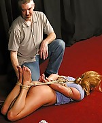Humiliation of being bound and caned