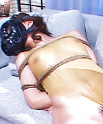 Japanese maiden is bound in latex