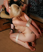 Blonde roped and trained to lick
