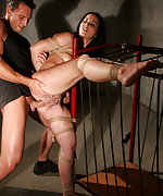 Brunette stripped, roped and fucked