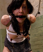 Petite hard body is put in tough bondage