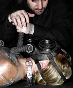 Tight rubber gas mask breathplay bondage