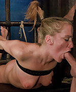 Blonde girl dominated and fucked in bondage