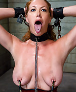 Redhead gets tied, ass hooked and fucked