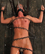 Cuffed, chained and tortured with pegs