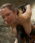 Fixed in metal bondage, whipped and vibed into orgasm