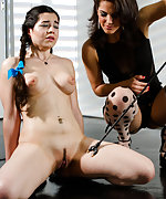 Innocent brunette stripped and electrotortured