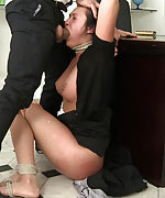 Hot secretary is taken down, bound and fucked
