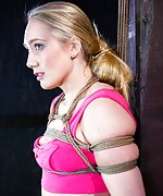 Pretty blond gets roped, gagged, caned, vibed to cum