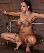 Frog tied and spread, her huge tits bound