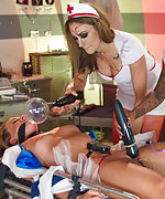 Zoey is helplessly electrified by three horny nurses