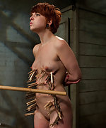 Redhead gets roped, whipped, pegged and trained
