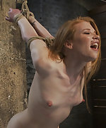 Redhead roped, ball-gagged, clamped and suspended