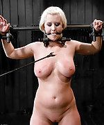 Cuffed naked, tits clamped, tortured and teased