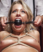 Tiny pussy bound and banged after loosing poker game