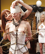 Lesbian bondage humiliating public birthday party