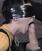 Petite, shy, pain slut is roped and cock trained