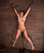 Wrist suspension while impaled on a cock & vibrator
