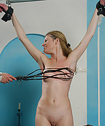 Tied up, whipped, clamped and fucked
