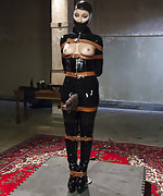 Pretty slavegirl gets objectified and fucked in tight latex