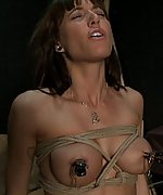 Beautiful woman gets stripped, roped, vibed and dildoed