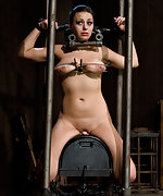 Suspended on the sybian for violent orgasms