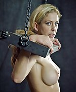 Cuffed in uncomfortable position, stripped, hooked, dildoed