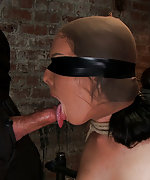 Severely bound on her knees, nipple tortured, face fucked
