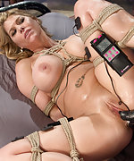 Lesbian bondage, pain, electricity and multiple orgasms