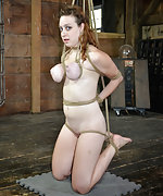 Roped, hogtied, suspended, tit clamped, teased