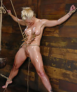Hardly roped, oiled, tortured with pegs and ass hooked