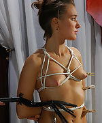 Stripped, roped, pegged and fucked