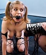Cuffed cutie gets extremely humiliatingly trained