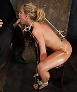 Roped to a chair, tit tortured, ass hooked and face fucked