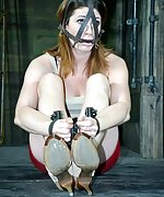 Caged, cuffed, metal-gagged, vibed