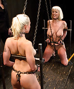 Two blonds trained in hard predicament bondage