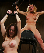 Two girls bound screaming, cumming on a sybian