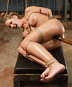 Blondie is bound tight and orgasmed hard