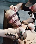 Blond gets strapped, pegged, shocked, machine-fucked