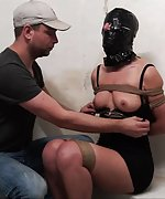 Tied up, hooded with plastic bag, taped, tit-grabbed, spanked