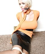 Sexy blonde gets her hands bound and her mouth gagged
