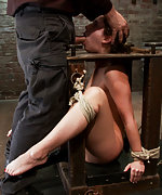 Locked in a wooden box, tits-clasped, pussy-vibed, mouth-fucked
