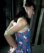 Brunette stripped, roped, whipped and humiliatingly trained