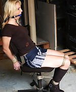 Ilona chair-tied, ball-gagged, tit-grabbed