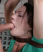 Belted to a pole, vibrated, mouth fucked