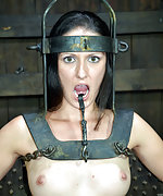 Two girls cuffed, ball-gagged, caned and dildoed