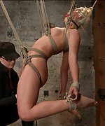 Hot blondie gets railed in challenging back arch suspension bondage