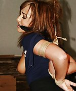 Sexy struggling babe bound, cleave-gagged and stripped